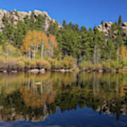 Cool Calm Rocky Mountains Autumn Reflections Poster