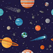 Cool Galaxy Planets And Stars Space Poster