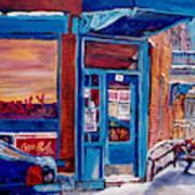 Corner Cafe Clark And Fairmount Wilensky's Winter Scene Habs Hockey Art C Spandau Quebec Artist Poster