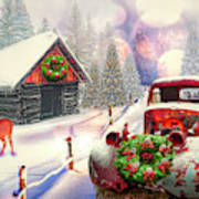 Country Mountain Christmas Poster