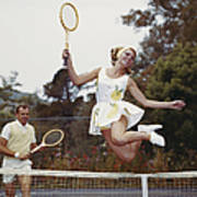 Couple On Tennis Court, Woman Jumping Poster