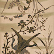 Cranes And Birds At Pond 1880 Poster