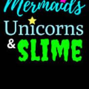 Cute Mermicorn Unicorn Mermaid Slime Birthday Poster