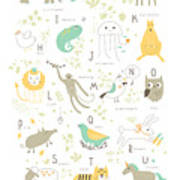 Cute Zoo Alphabet With Funny Animals In Poster