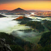 Czech Typical Autumn Landscape. Hills Poster