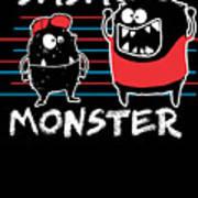 Dada Monster Cute Monster Cartoon For Kids And Dad Dark Poster