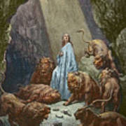 Daniel In The Den Of Lions  Engraving By Gustave Dore Poster