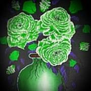 Dark And Delicious Roses  In Green Poster