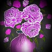 Dark And Delicious Roses In Pink Lilac Poster