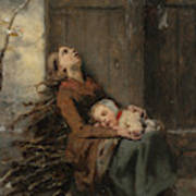 Destitute Dead Mother Holding Her Sleeping Child In Winter, 1850 Poster