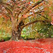 Digital Watercolor Painting Of Beautiful Autumn Fall Nature Fair Poster