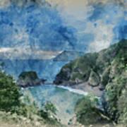 Digital Watercolor Painting Of Beautiful Dramatic Sunrise Landsa Poster