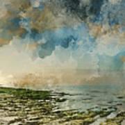Digital Watercolor Painting Of Beautiful Landscape Panorama Suns Poster