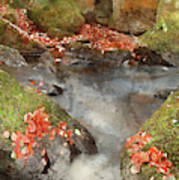 Digital Watercolor Painting Of Blurred Water Detail With Rocks N Poster