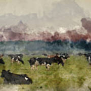 Digital Watercolor Painting Of Cattle In Field During Misty Sunr Poster