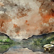 Digital Watercolor Painting Of Llyn Nantlle At Sunrise Looking T Poster