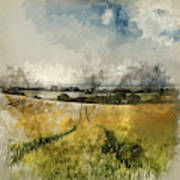 Digital Watercolor Painting Of Stunning Countryside Landscape Wh Poster