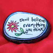 Don't Believe Everything You Think Painted Rock Poster