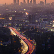 Downtown Los Angeles Skyline At Poster