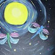 Dragonflies And Moonlight Poster