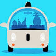 Driverless Car Delivering Groceries Poster