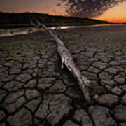 Dry Banks Of Rainy River After Sunset Poster