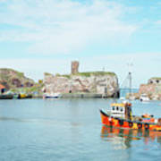 Dunbar Castle Ruins, Harbour And Fishing Boats Poster