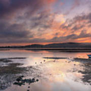 Dusky Pink Sunrise Bay Waterscape Poster