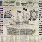 Early 18th Century British Man Of War Ship Diagram Poster