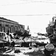 Earthquake-damaged Dock And Ship Poster