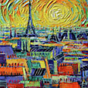 Eiffel Tower And Paris Rooftops In Sunlight Textural Impressionist Stylized Cityscape Mona Edulesco Poster