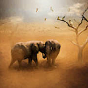 Elephants At Sunset 072 - Painting Poster