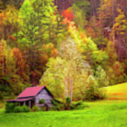 Embraced In Autumn Color Painting Poster