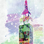 Empire State Building Colorful Watercolor Poster