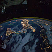 Italy From Space At Night Poster