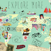 Exlore More World Map Poster