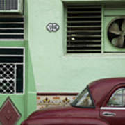 Facade And Oldtimer In Old Havana Poster