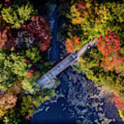 Fall Aerial With Bridge Poster