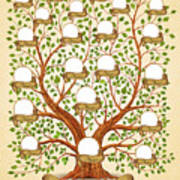 Family Tree Template Vintage Vector Poster