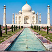 Famous Taj Mahal Mausoleum In In Bright Poster