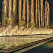 Fantacy Fountain Night Lit San Pedro Gateway Poster