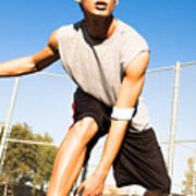 Fit Male Playing Basketball Outdoor Poster