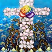 Floral Cross Rainbow Rose Poster