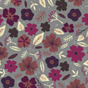 Floral Seamless Pattern. Colored Poster