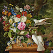 Flowers In A Vase With Two Doves Poster