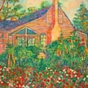 Flowery Backyard Poster