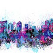 Fort Worth Skyline Color Splatter Poster