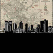 Fort Worth Skyline Map Poster