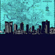 Fort Worth Skyline Map Blue 2 Poster