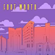 Fort Worth Skyline Panorama Purple Poster